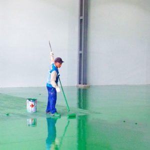 sơn epoxy hệ lăn sàn nhà xưởng